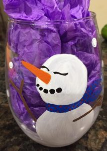 Snowman Stemless Glass