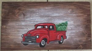 Ol' Red Truck - on wood