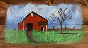 Old Country Barn - on wood